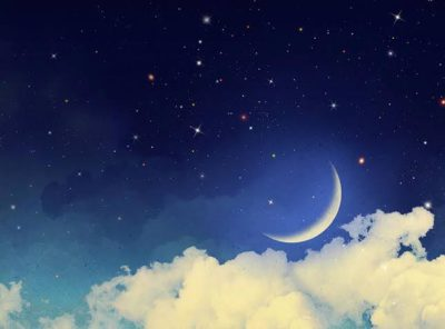 clouds with moon and sky